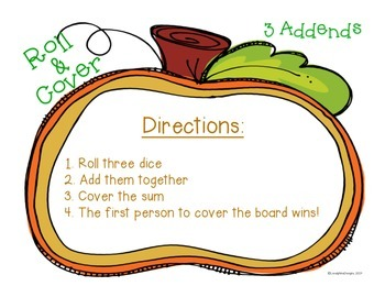 Pumpkin Roll and Cover 3 Addends