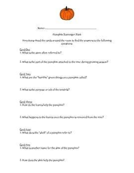 Pumpkin Scavenger Hunt Answer Sheet