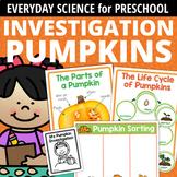 Pumpkin Science Activities for Preschool Prek & Kinder | Pumpkins Investigation