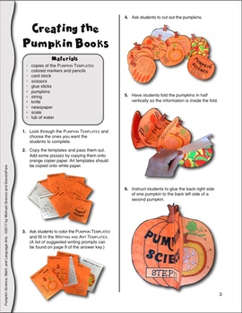 Pumpkin Science, Math, and Language Arts—A Color, Cut, and Create Activity