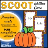 Pumpkin Math Scoot Game with Addition to Ten for First Grade