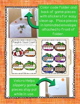Pumpkin Seed Count & Match File Folder Game