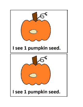 Pumpkin Seed Counting Emergent Reader in Color for Preschool and Kindergaten