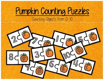 Pumpkin Seed Counting Puzzles - Kindergarten Math Center