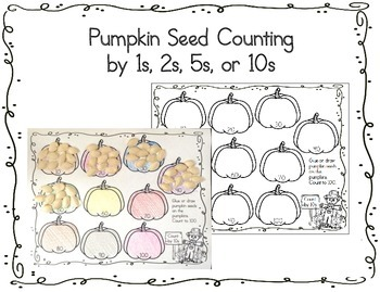 pumpkin seed counting worksheet 1s 2s 5s 10s by teach me visually. Black Bedroom Furniture Sets. Home Design Ideas