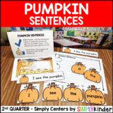 Pumpkin Sentences Center - Kindergarten Center - Simply Centers