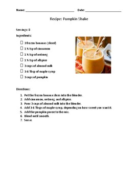 Pumpkin Shake Recipe with Follow-Up Questions