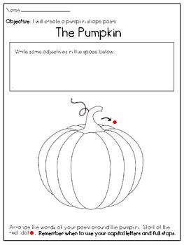 Pumpkin Shape Poem Writing Frame