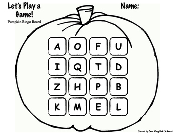 Pumpkin-Shaped Alphabet Bingo Boards