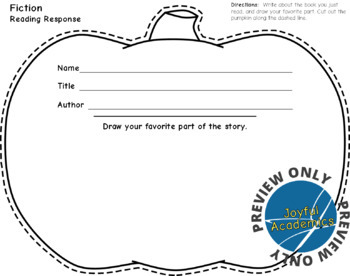 Pumpkin Shaped Reading Response Sheets for Any Book