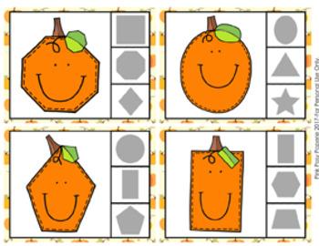 Pumpkin Shapes Clip Cards