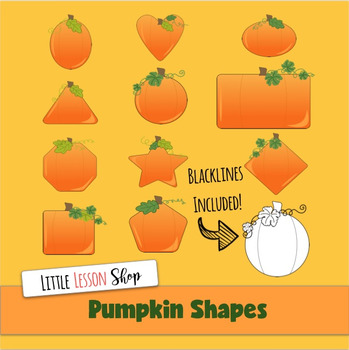 Pumpkin Shapes Clipart with Black and White Versions too!