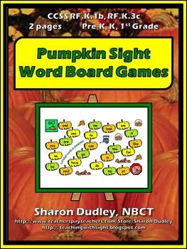 Pumpkin Sight Word Board Games