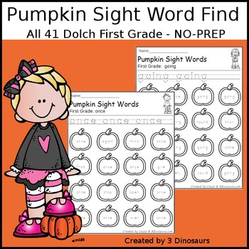 Pumpkin Sight Word Find: First Grade