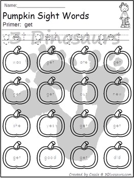 Pumpkin Sight Word Find: Primer