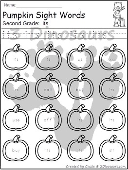Pumpkin Sight Word Find: Second Grade