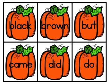 Pumpkin Sight Word Match (FREEBIE)