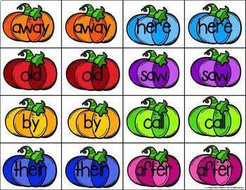 Pumpkin Sight Word Match Game