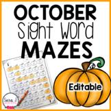 Pumpkin Sight Word Mazes