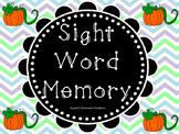 Pumpkin Sight Word Memory