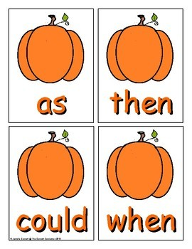 Pumpkin Sight Word Recognition Center or Whole Group Game for First Grade