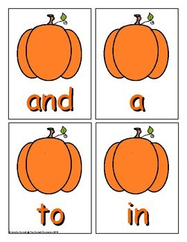 Pumpkin Sight Word Recognition Center or Whole Group Game for Fry 1-100