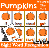 Pumpkin Sight Word Recognition Center or Whole Group Game for Third Grade