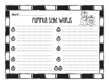 Pumpkin Sight Word Recording Sheet
