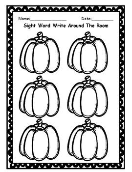 Pumpkin Sight Words- Write Around The Room