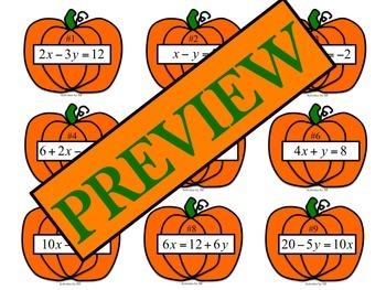 Pumpkin Slope Intercept Task Cards