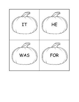 Pumpkin Smash-Sight Word Game