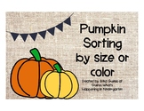 Pumpkin Sorting by Size or Color