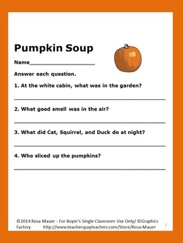 Pumpkin Soup Book Unit