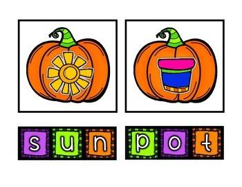 Pumpkin Spelling Literacy Center {{CVC & VC WORDS}}
