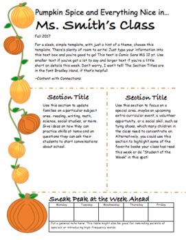 Pumpkin Spice Classroom Newsletter for October