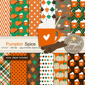Pumpkin Spice Digital Papers and Clipart Fall Autumn digital paper