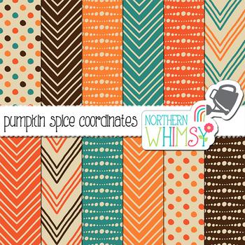 Pumpkin Spice Fall Geometric Digital Paper