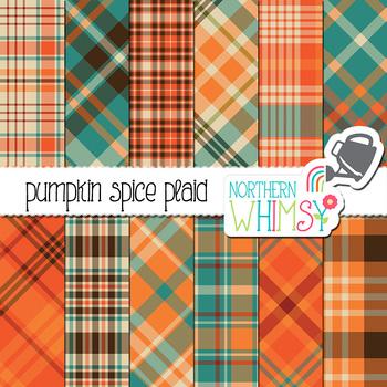 Pumpkin Spice Fall Plaid Digital Paper