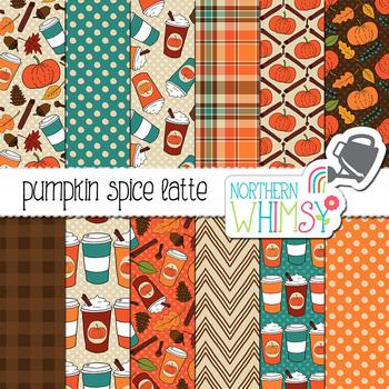 Pumpkin Spice Latte Fall Digital Paper