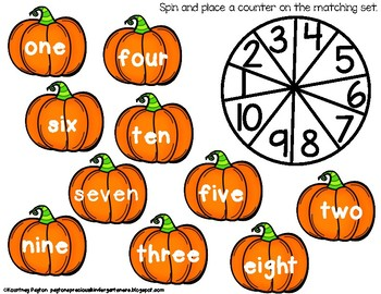 Pumpkin Spin to Win Game - Numbers 0-10 Common Core Aligned