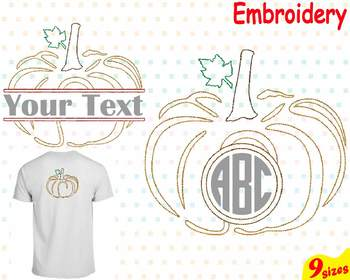 Pumpkin Split & Circle Embroidery Machine digital 4x4 5x7 hoop frame Fall 82b