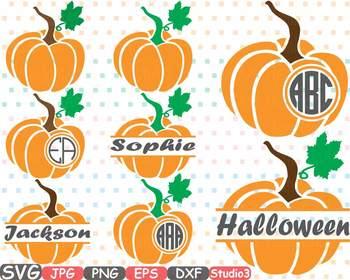 Pumpkin Split & Circle clipart frame frames Thankgiving Halloween svg fall 694s