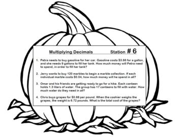 Pumpkin Stations Add Subtract Multiply Divide Decimals Word Problems Application