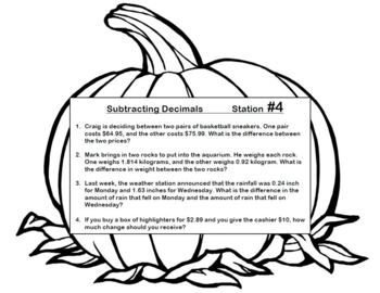 Pumpkin Stations Add Subtract Multiply Divide Decimals Word Problems Answer KEY