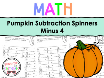 Pumpkin Subtraction Spinners Minus 4