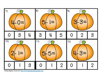 Pumpkin Subtraction to 5 Clip It