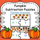 Pumpkin Math Center Subtraction within 20 Game Puzzles Fall Activity 1st Grade