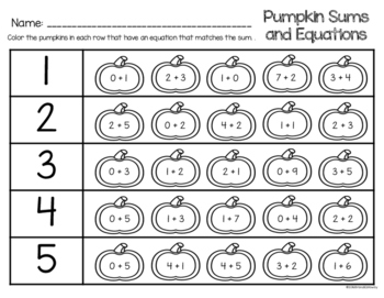 Pumpkin Sums and Equations