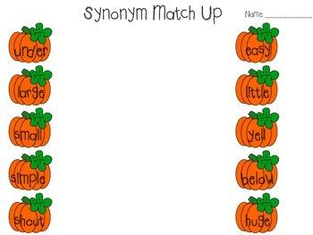 Pumpkin Synonym and Antonym Match Up
