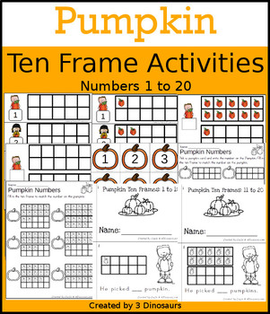 Pumpkin Ten Frame Activities (1-20)